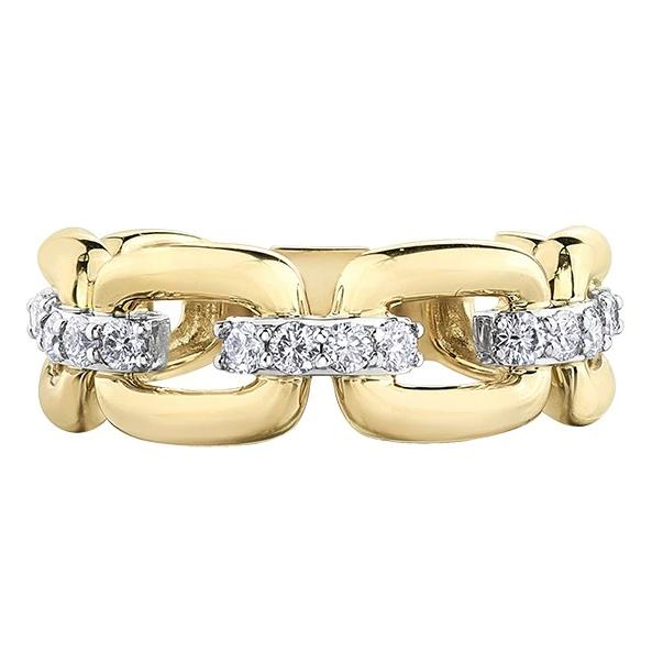 10KT YELLOW GOLD 0.50CTTW DIAMOND CHAIN RING