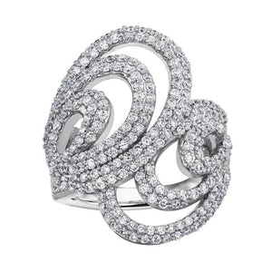 10KT WHITE GOLD 1.25CTTW SWIRL PAVE DIAMOND RING