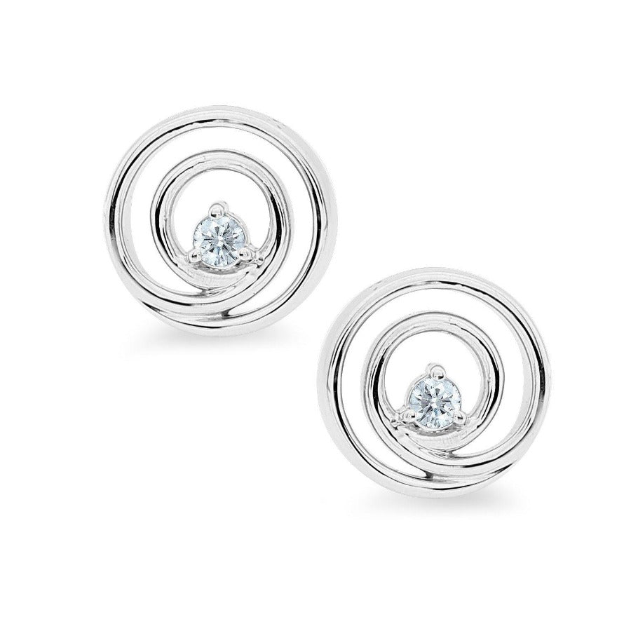 10KT WHITE GOLD 0.06CTTW SWIRL STUD EARRINGS
