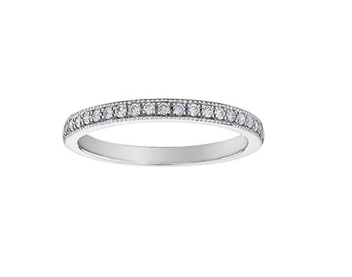14kt White Gold 0.15cttw Diamond Milled Edge Band