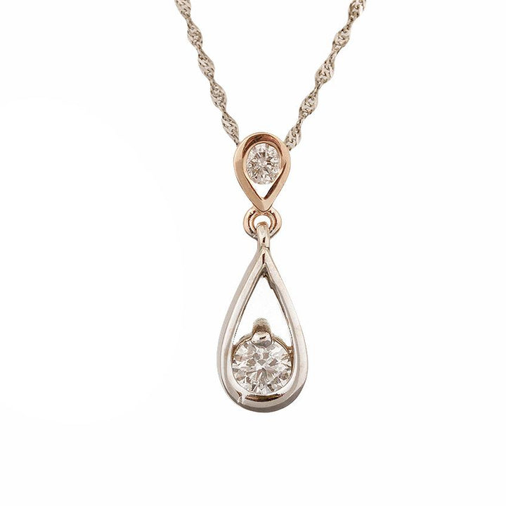 14KT WHITE/ROSE GOLD 0.31CTTW CANADIAN DIAMOND TEARDROP PENDANT