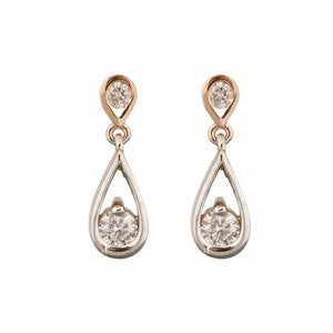 14KT WHITE/ROSE GOLD 0.62CTTW CANADIAN DIAMONDS EARRINGS