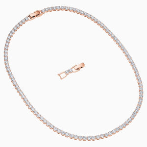 Swarovski Tennis Deluxe Necklace, White, Rose Gold Tone Plated
