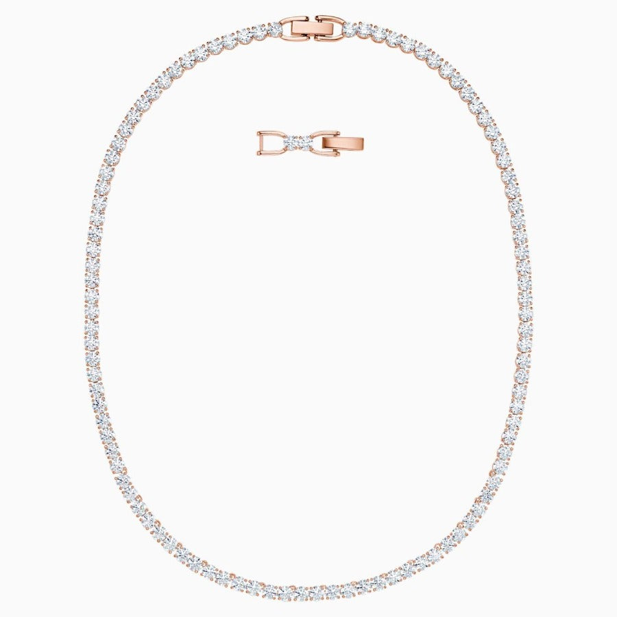 SWAROVSKI TENNIS DELUXE NECKLACE, WHITE, ROSE-GOLD TONE PLATED