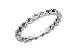 10kt White Gold Diamond Infinity Stackable Ring