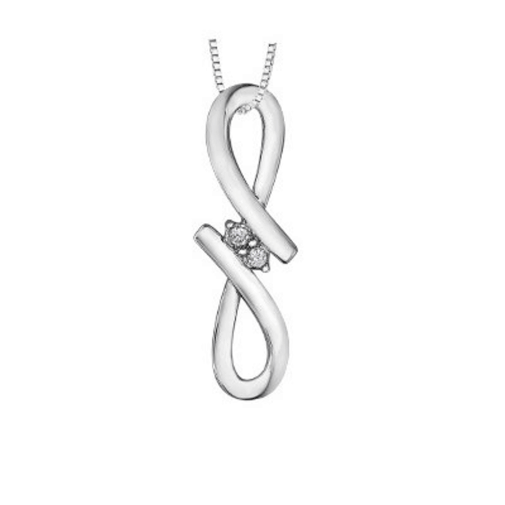 STERLING SILVER DIAMOND PENDANT. TOGETHER FOREVER