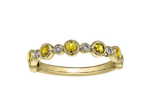 10kt Yellow Gold Diamond and Yellow Saphire Ring