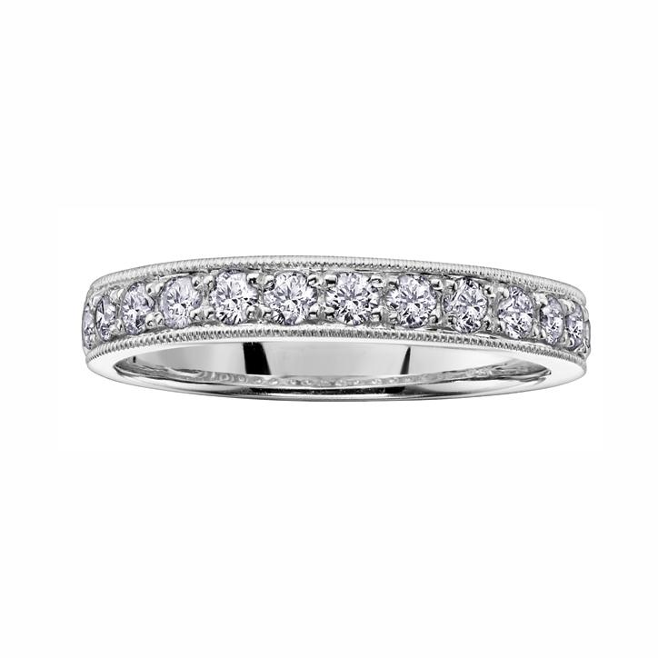 14kt White Gold 0.50cttw Diamond Milled Edge Band