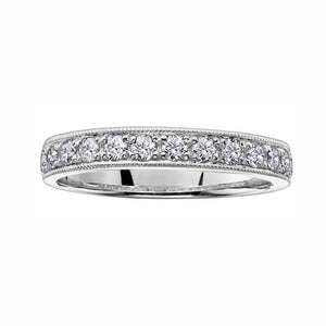 14kt White Gold 1.00cttw Diamond Milled Edge Band