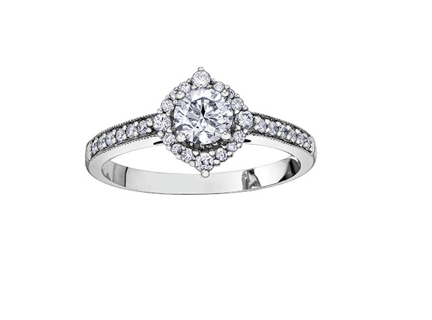 14kt White Gold 0.81cttw Canadian Diamond Engagement Ring