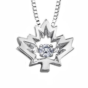 10KT WHITE GOLD MAPLE LEAF PULSE PENDANT SKU266896