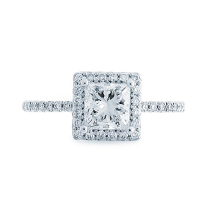 14kt White Gold 1.24cttw Princess Cut Halo Diamond Engagement Ring