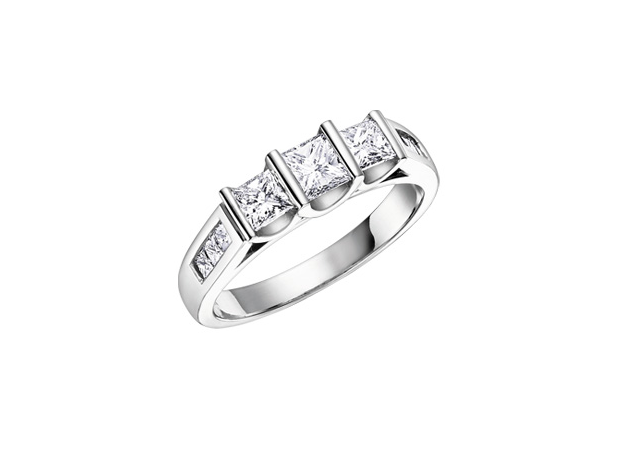 18kt Three Across 0.75cttw Princess Cut Diamond Ring