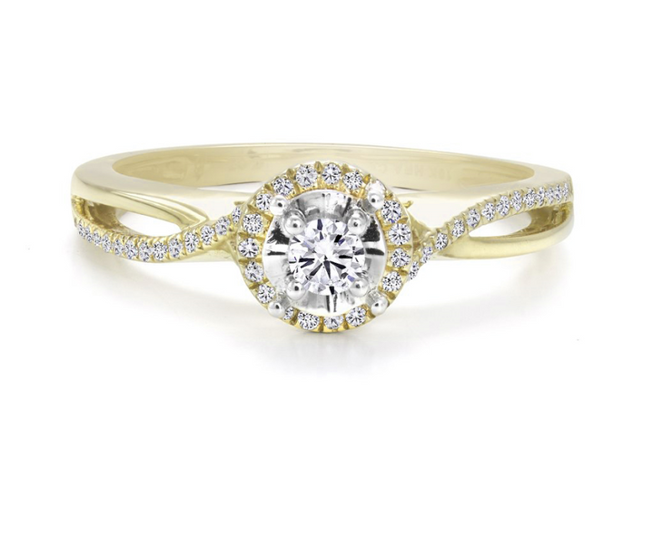 10kt Yellow and White Gold 0.22cttw Halo Canadian Diamond Engagement Ring
