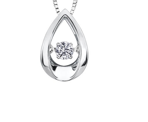 14kt White Gold 0.50ct Canadian Solitaire Diamond Pulse Pendant