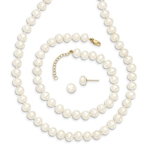14KT YELLOW GOLD 6-6.5MM CULTURED WHITE PEARL SET