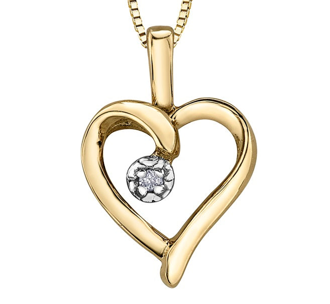 10kt Yellow Gold Diamond Open Heart Pendant