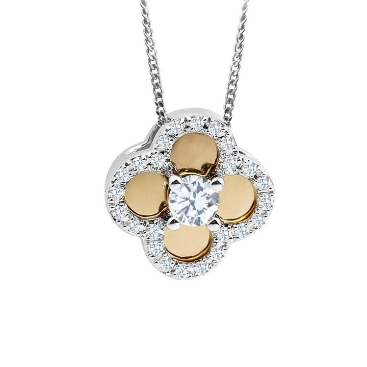 10KT WHITE/YELLOW GOLD 0.17CTTW DIAMOND FLOWER PENDANT