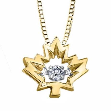 10KT YELLOW GOLD MAPLE LEAF PULSE PENDANT FEATURING A CANADIAN DIAMOND