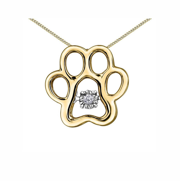 10KT YELLOW GOLD DIAMOND PAW PULSE PENDANT