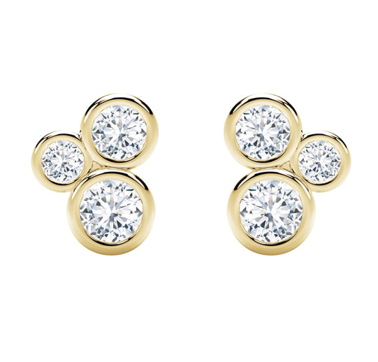 18kt Yellow Gold 0.54cttw Forevermark Diamond Three Stone Bezel Studs
