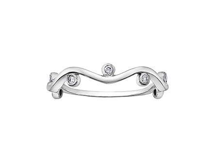 10kt White Gold Waved Band With Diamond Accents