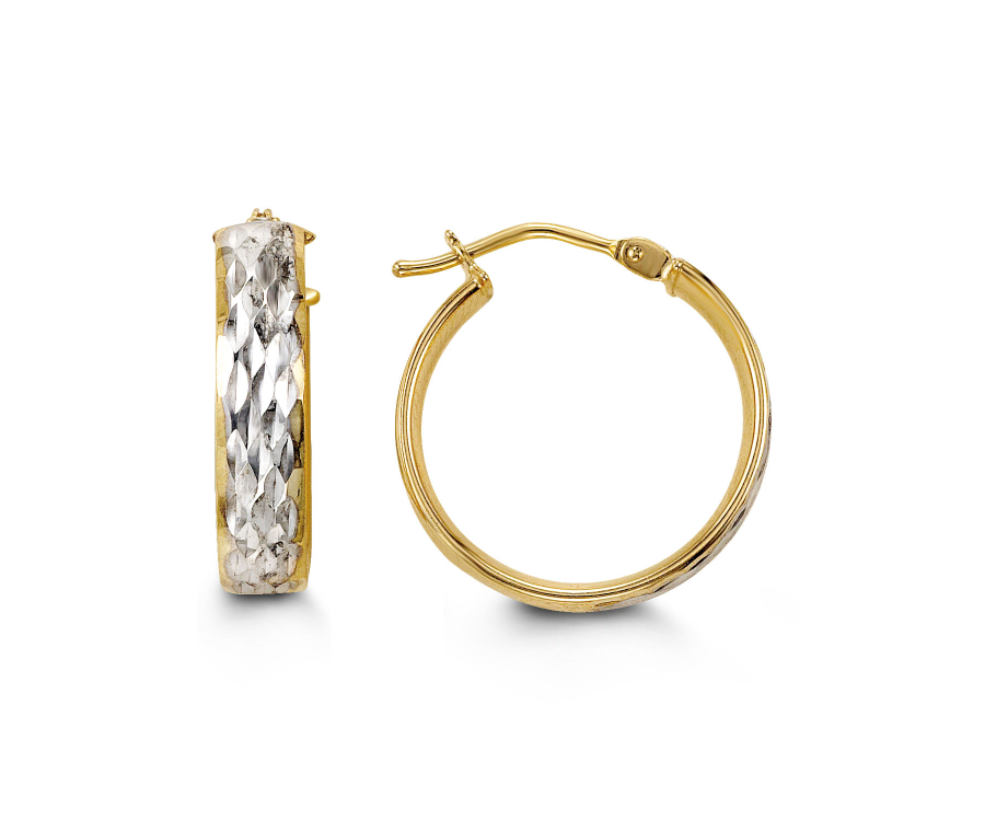 10kt Yellow and White Gold Hammered Hoop Earrings