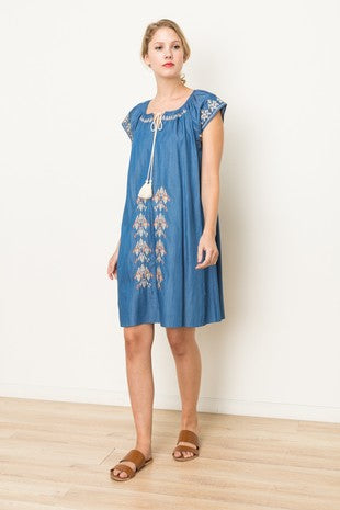 Aztec Flair Embroidered Dress