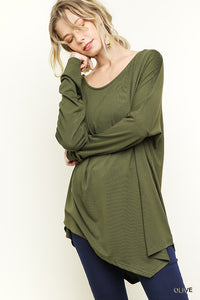 Loose Fit Asymmetric Top - Olive