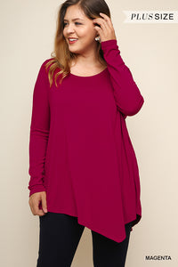 Loose Fit Asymmetric Top - Magenta