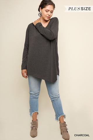 Curvy Loose Fit Asymmetric Top - Charcoal