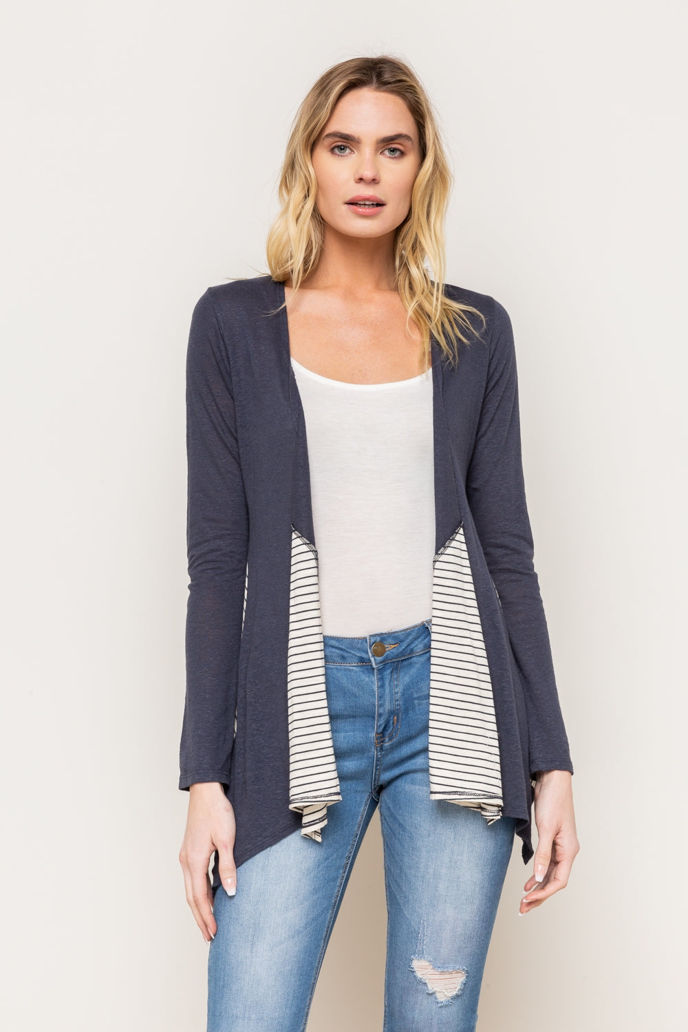 Subtle Stripe Open Cardigan