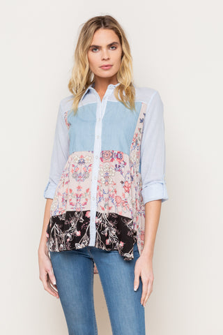 Mixed Print Button Down