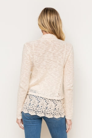 Lace Trimmed Open Cardigan