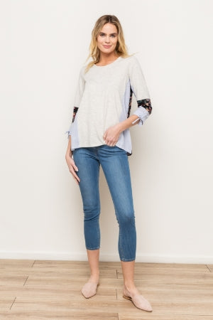 Mix-Media Round Neck Top