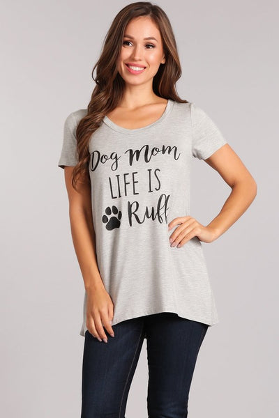 Curvy Dog Mom Life Graphic Tee-Multiple Colors Available