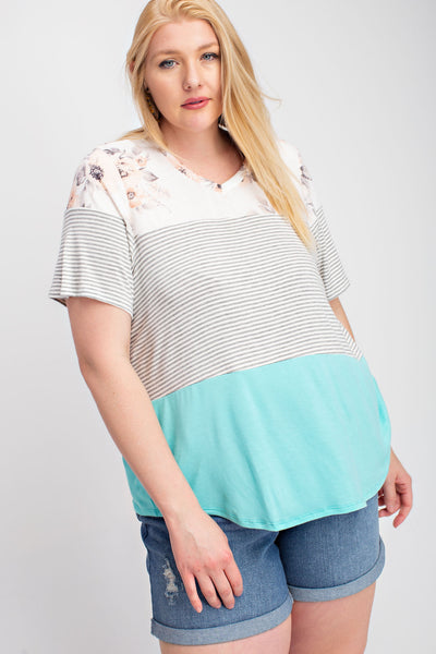 Curvy Color Block Tee