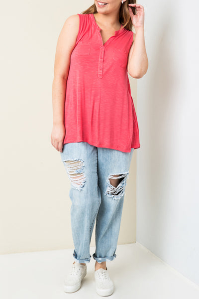 Curvy Sleeveless Two Pocket Henley Top-Multiple Colors Available