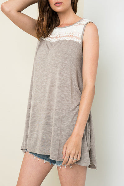 Lace Topped Tunic - Multiple Colors Available