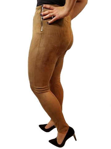 Side Zip Faux Suede Leggings - Camel