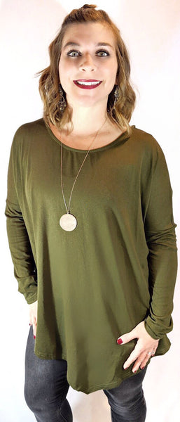 Curvy Loose Fit Asymmetric Top - Olive