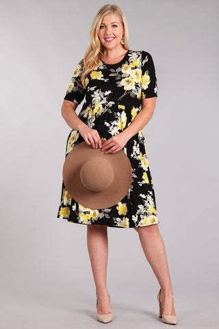 Curvy Citrine Floral Dress