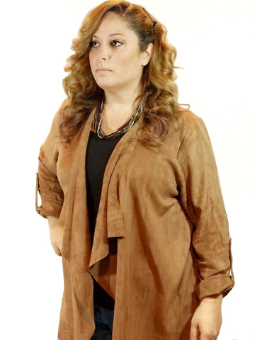 Curvy Taking Names Faux Suede Jacket - Camel