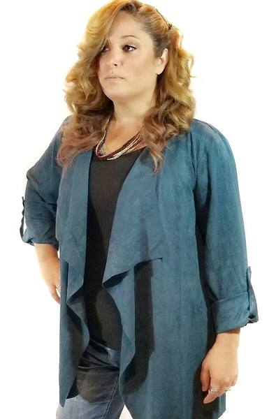 Curvy Taking Names Faux Suede Jacket - Black