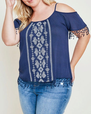 Curvy Embroidered Cold Shoulder Top