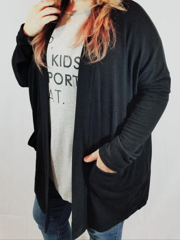 Curvy Basic Black Cardigan