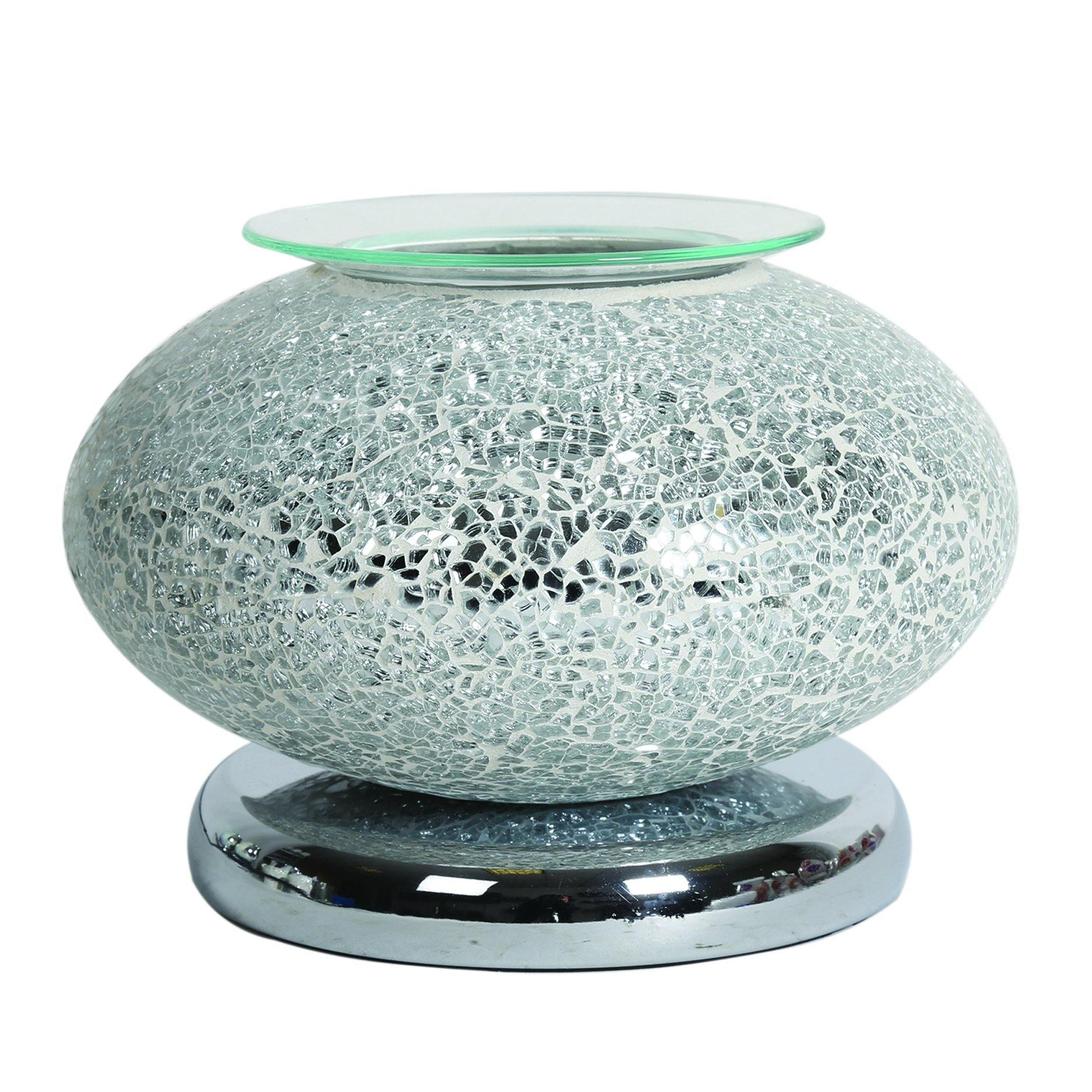 Aroma Accessories Electric Wax Melt Burner Touch - Silver Mosaic Ellipse - TOSYS Candles and Gifts
