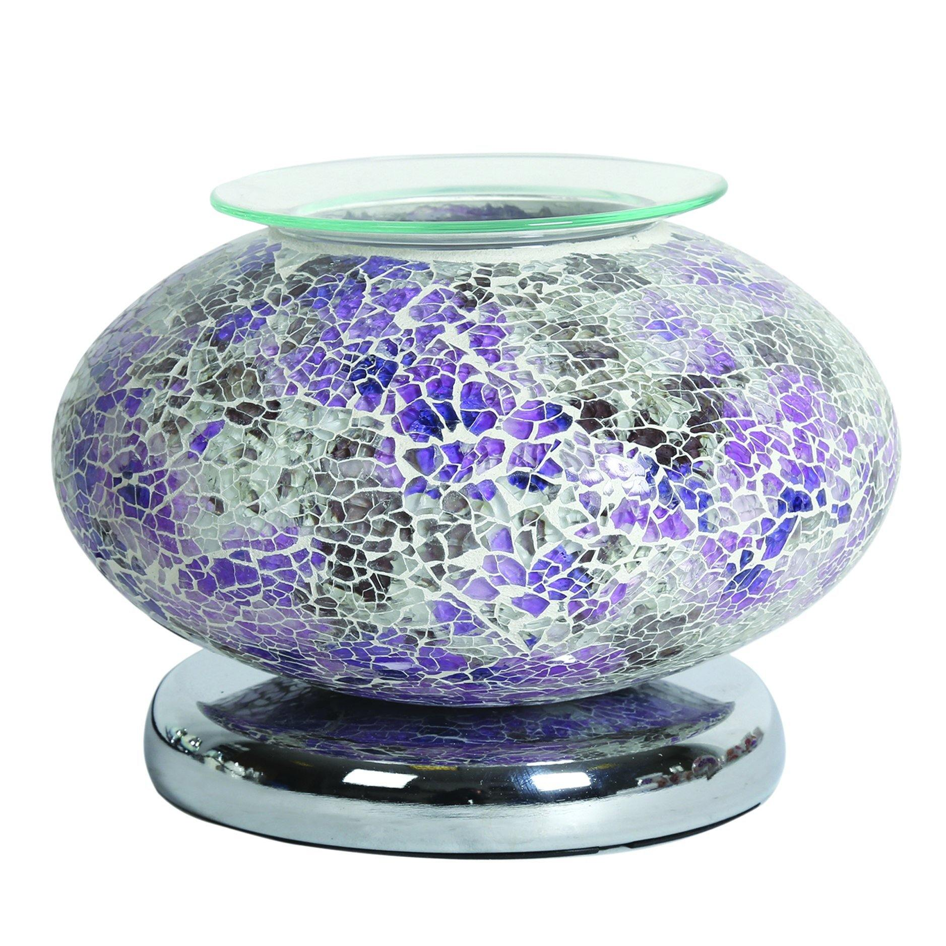 Aroma Accessories Electric Wax Melt Burner Touch - Purple Mosaic Ellipse - TOSYS Candles and Gifts