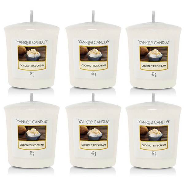 6 Pack Yankee Candle Coconut Rice Cream Votive Candles - TOSYS Candles and Gifts