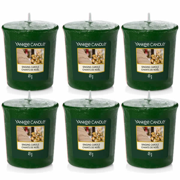 6 Pack Yankee Candle Singing Carols Votive Candles - TOSYS Candles and Gifts